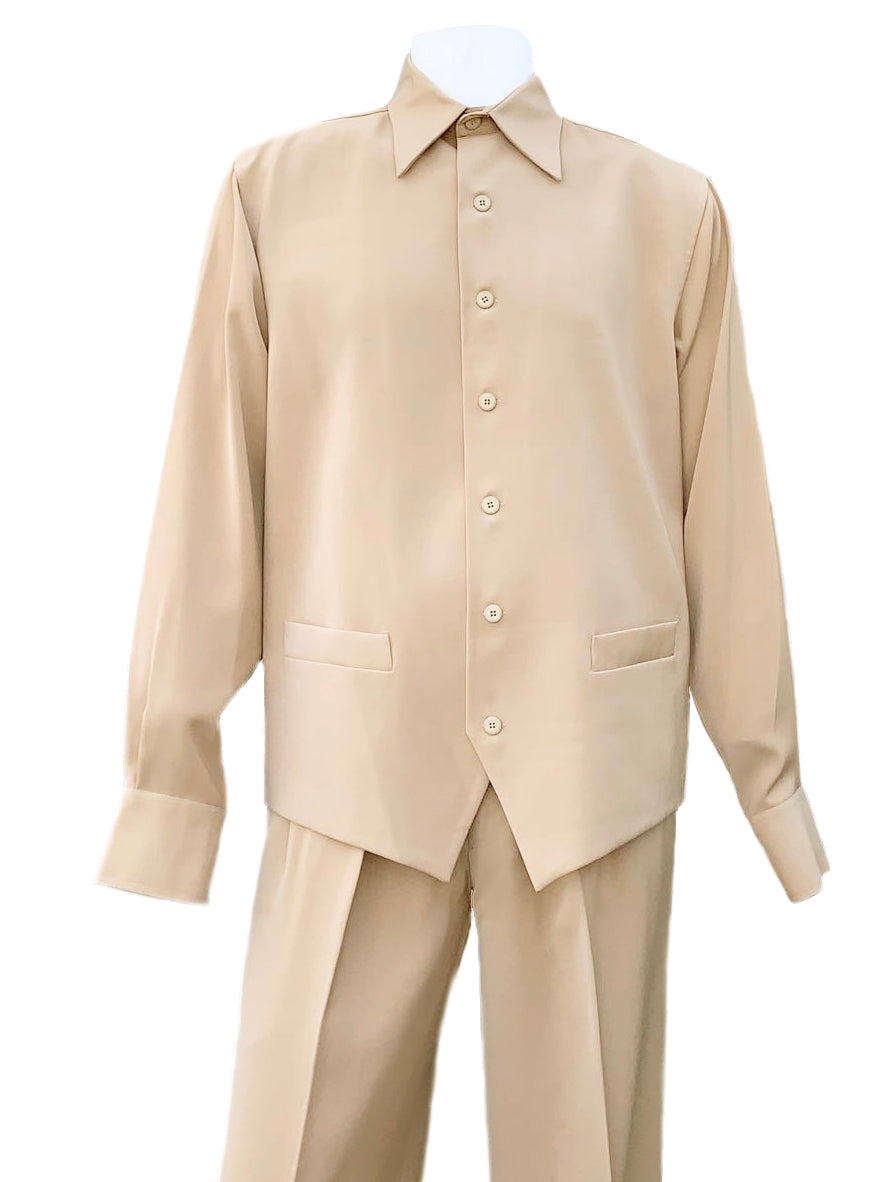Monotone Vest Cut Long Sleeve 2pc Walking Suit Set - Taupe