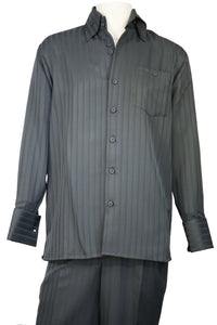Cage Stripes Long Sleeve 2pc Walking Suit Set - Slate