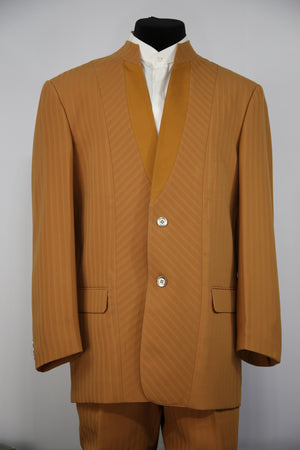 Mandarin Collar Cross Striped  2pc  Zoot Suit Set