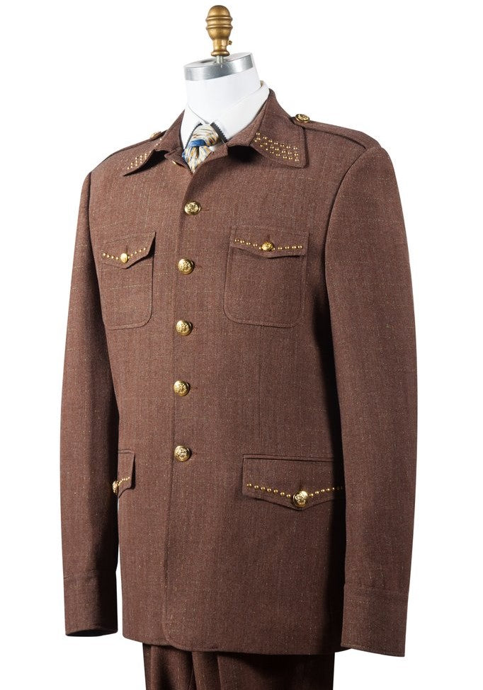 Naval Style High Collar Brass Accent Wool 2pc Zoot Suit Set - Brown