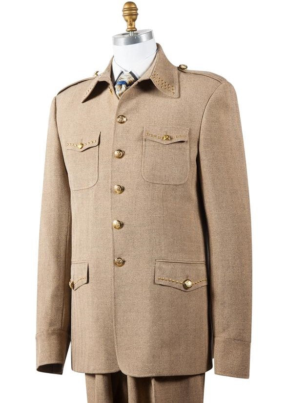 Naval Style High Collar Brass Accent Wool 2pc Zoot Suit Set - Taupe