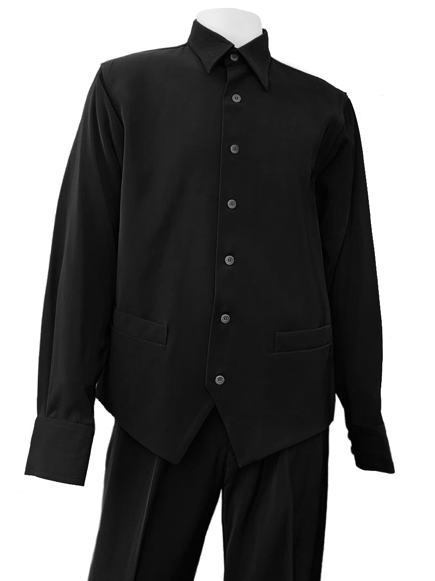 Monotone Vest Cut Long Sleeve 2pc Walking Suit Set - Black
