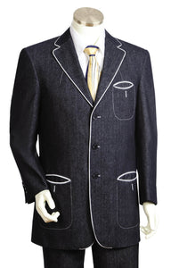 Contour Accents Tri Pocket Denim 2pc  Zoot Suit Set - Black with White Contours