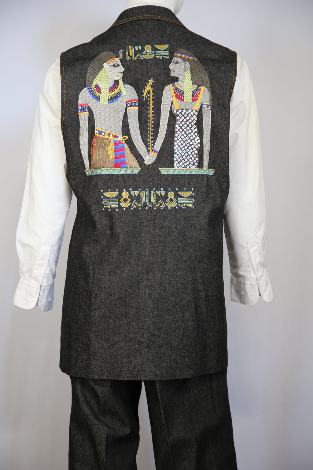 Egyptian Embroidered Denim 2pc Zoot Suit Vest Set