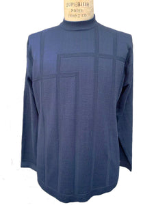 Grid Sect Thermal Long Sleeve Shirt - Navy