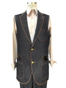 Faux Leather Brass Accents Denim 2pc Zoot Suit Vest Set - Black