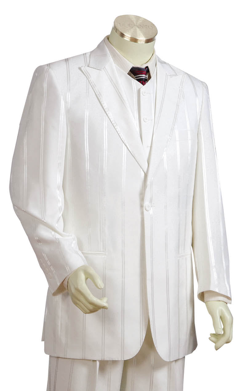 Reflective Stripes 3pc Zoot Suit Set - Off White