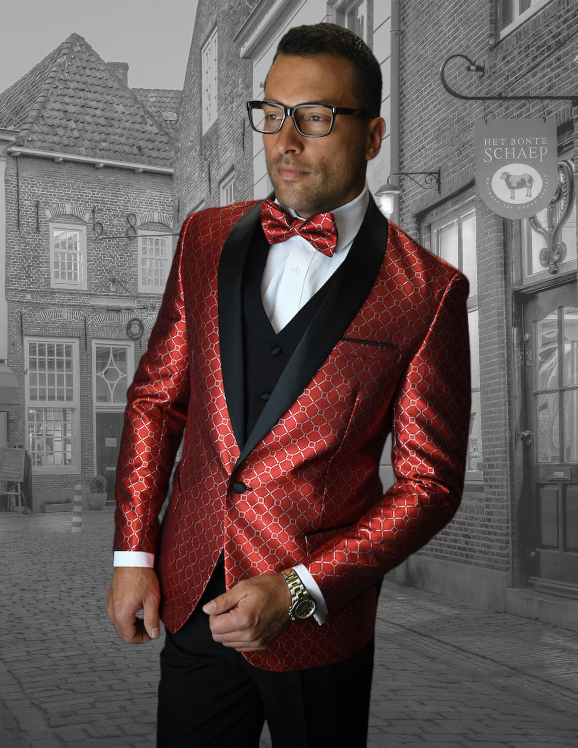 Bellagio Diamond Grid  3pc Italian Suit Set - Red