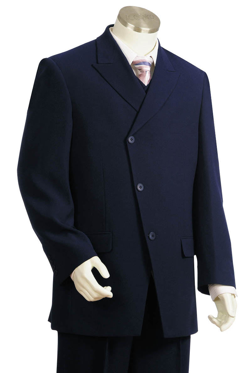Victorian Side Buttoned 3pc Zoot Suit Set - Navy