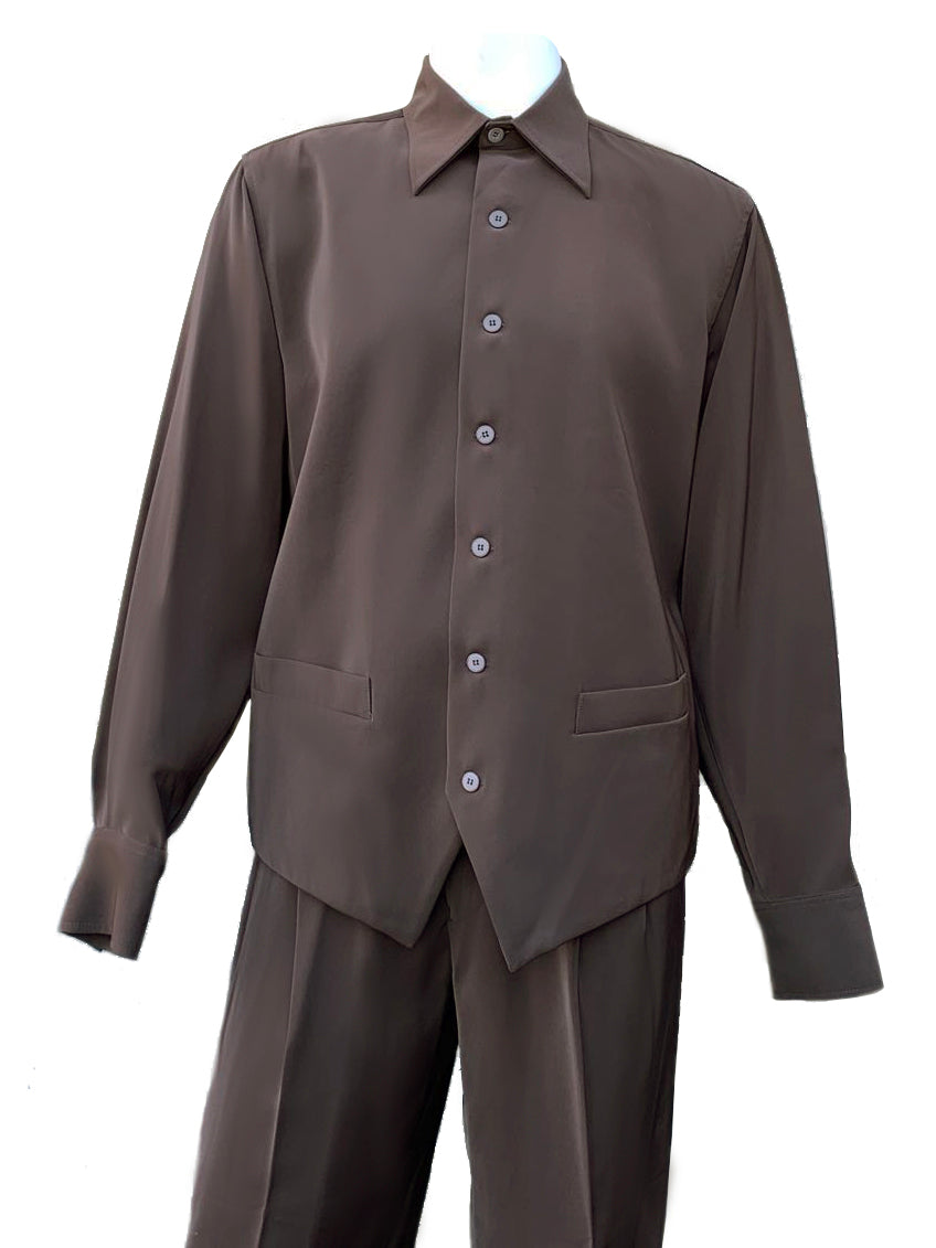 Monotone Vest Cut Long Sleeve 2pc Walking Suit Set - Brown