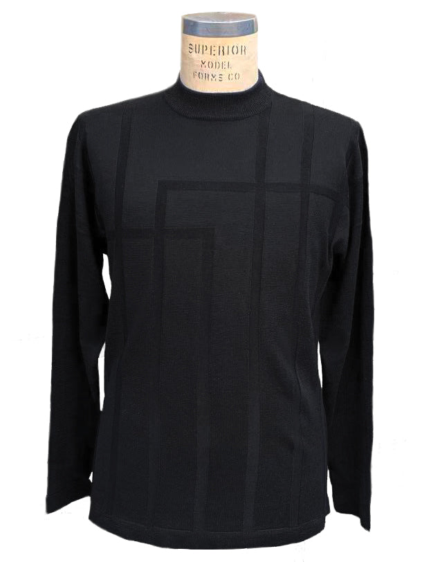 Grid Sect Thermal Long Sleeve Shirt - Black