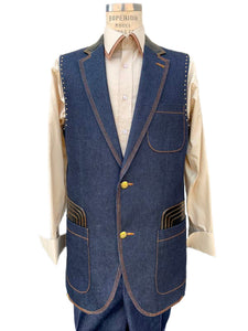 Faux Leather Brass Accents Denim 2pc Zoot Suit Vest Set - Navy