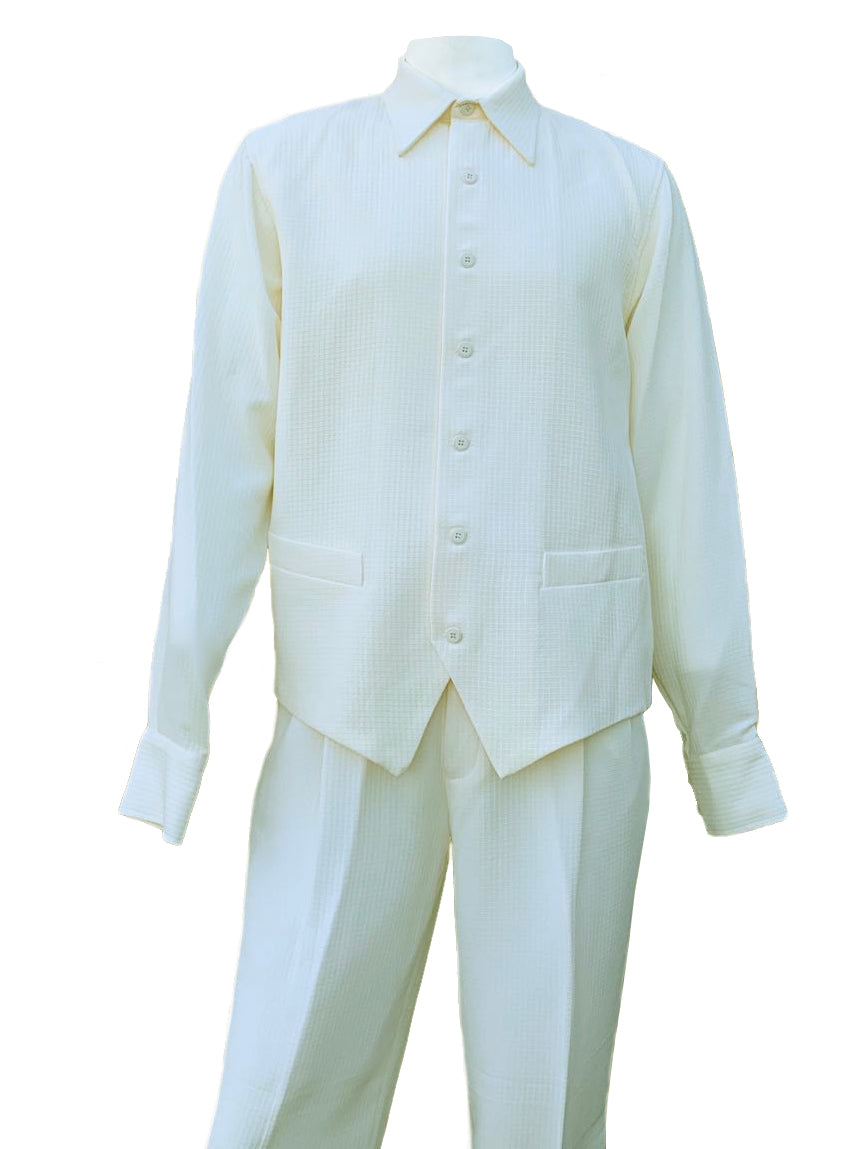 Monotone Vest Cut Long Sleeve 2pc Walking Suit Set - Off White