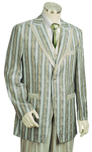Metallic Wave Patterned  3pc  Zoot Suit Set