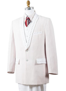 Polka Dots Rhinestone Accent 4pc  Zoot Suit Set - White