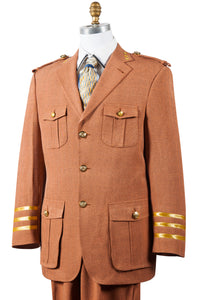 Military Style Tri-Stripe Cuff Wool 2pc Zoot Suit Set - Rust