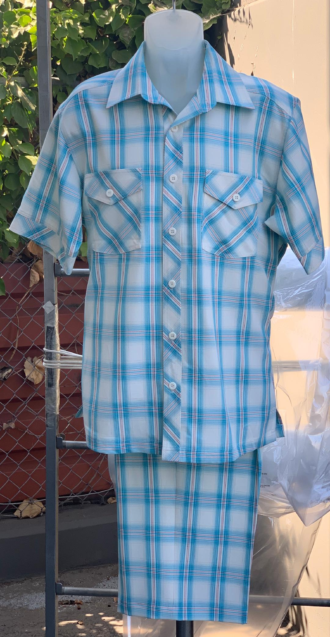 Crosshatch Checkered Dual Pocket Short Sleeve 2pc Walking Suit Shorts Set - Teal