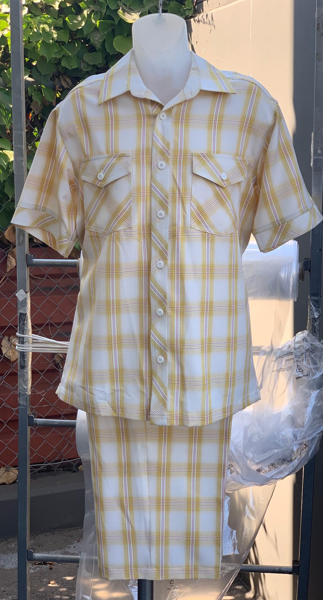 Crosshatch Checkered Dual Pocket Short Sleeve 2pc Walking Suit Shorts Set - Yellow