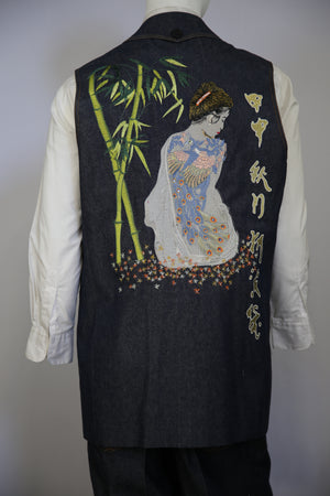 Chinese Muse Embroidered Denim 2pc Zoot Suit Vest Set