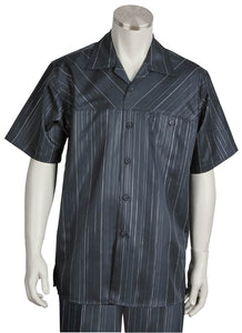 Cross Striped Short Sleeve 2pc Walking Suit Set - Charcoal