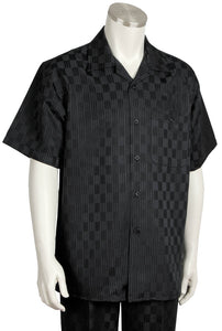 Checkered Short Sleeve 2pc Walking Suit Set - Black