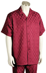Checkered Short Sleeve 2pc Walking Suit Set - Red