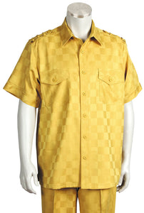 Checkered Shoulder Accent Short Sleeve 2pc Walking Suit Set - Gold