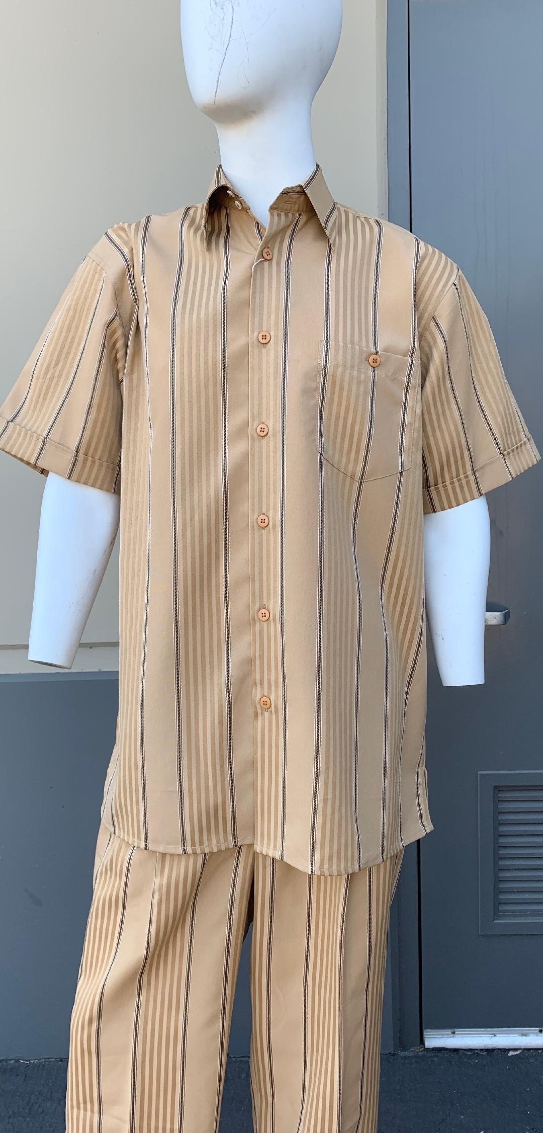 Lemongrass Stripes Short Sleeve 2pc Walking Suit Set - Gold