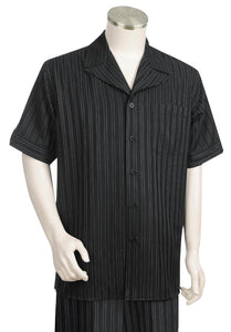 Eclipse Stripes Short Sleeve 2pc Walking Suit Set - Black