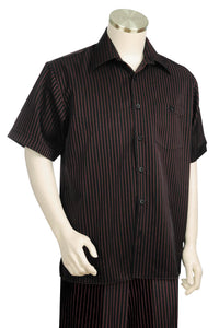 Brilliant Stripes Short Sleeve 2pc Walking Suit Set - Black/Red