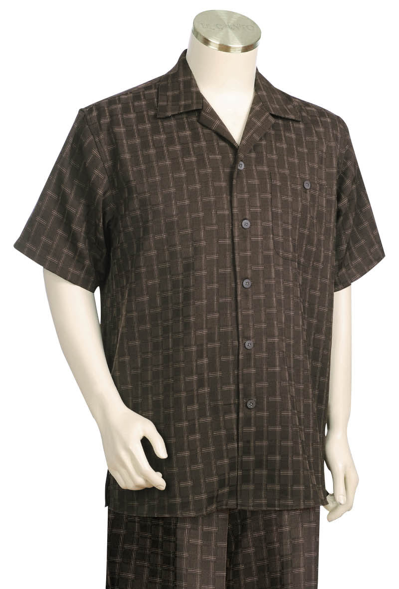 Stitch Stripes Short Sleeve 2pc Walking Suit Set - Brown