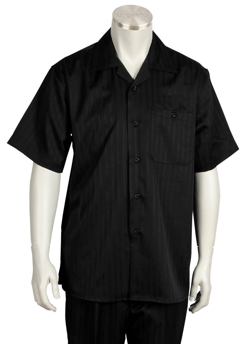 Monotone Stripes Short Sleeve 2pc Walking Suit Set - Black