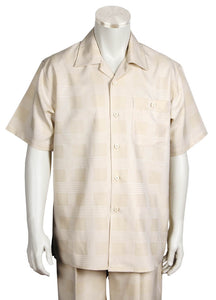 Vintage Squares Short Sleeve 2pc Walking Suit Set - Tan
