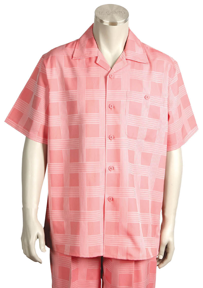 Vintage Squares Short Sleeve 2pc Walking Suit Set - Pink
