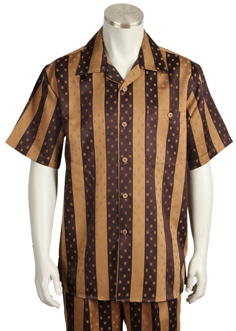 Speckled Stripes Short Sleeve 2pc Walking Suit Set - Brown