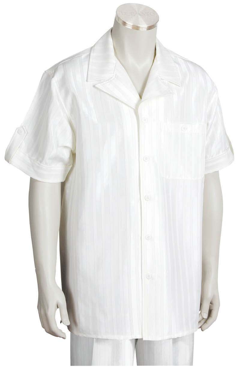 Reflective Stripes Short Sleeve 2pc Walking Suit Set - White