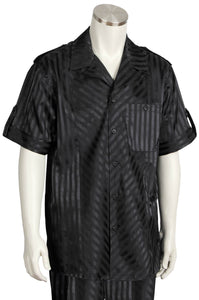 Cross Stripes Short Sleeve 2pc Walking Suit Set - Black
