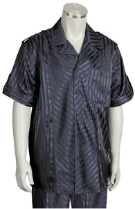 Cross Stripes Short Sleeve 2pc Walking Suit Set - Charcoal