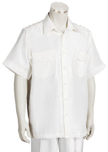 Metallic Shoulder Accent Short Sleeve 2pc Walking Suit Set - Off White