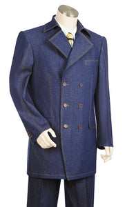 Stylish Trench Collar Double Breasted Stitch Accent Denim 3pc Zoot Suit Set