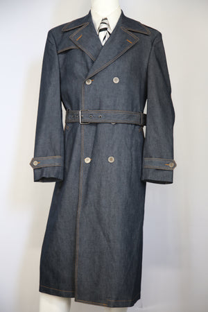 Stylish Trench Collar Double Breasted Denim 1pc  Long Zoot Suit Set