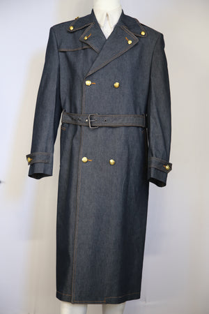 Stylish Trench Collar Double Breasted Brass Accent Denim 1pc Long Zoot Suit