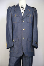 Naval Style Stitch Accent Denim 3pc Zoot Suit Set
