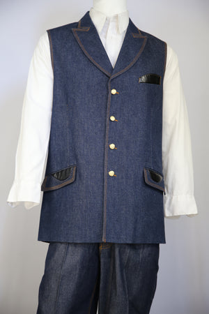 Faux Leather Accents Denim  2pc  Zoot Suit Vest Set