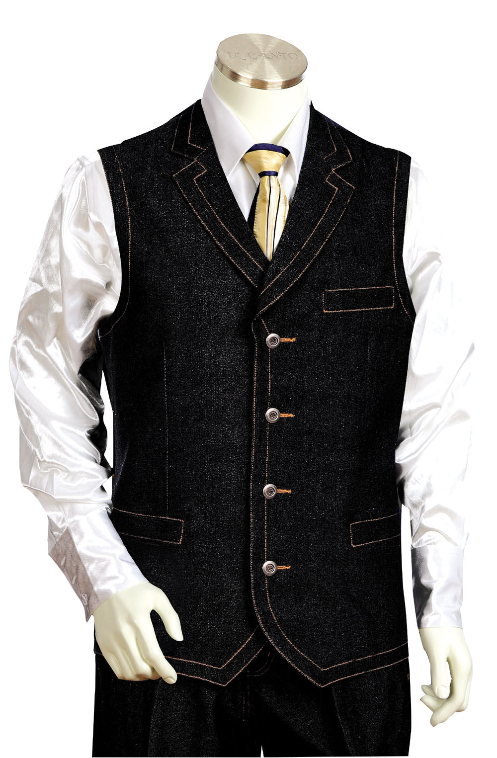 Victorian Denim 2pc Zoot Suit Vest Set - Black & Blue