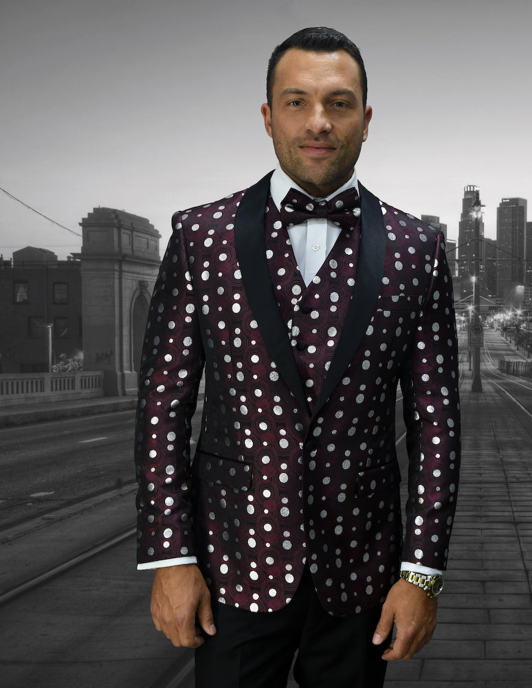 Bellagio Polka Dots  3pc Italian Suit Set - Burgundy