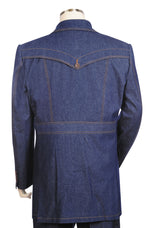 Stylish Trench Collar Double Breasted Stitch Accent Denim 3pc Zoot Suit Set - Navy