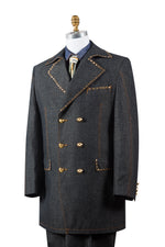 Stylish Trench Collar Double Breasted Brass Accent Denim 3pc Zoot Suit Set
