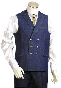 Victorian Double Breasted Denim 2pc Zoot Suit Vest Set