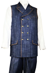 Double Breasted Denim 2pc Zoot Suit Vest Set - Navy